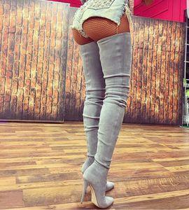 Automne Hiver Chaussures En Daim Noir Gris Beige Sexy Bottes De Crotch Sur Le Genou Crêpe Longues Bottines Femmes Stretch Cuisse Bottes Hautes Talons Aiguilles