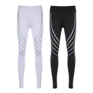 6072A Women Running Pants High Elastic Fitness Yoga Leggings Pant New Reflective Nightlight Tights for Girls Training Trousers Pants