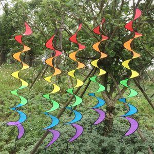 À ciel ouvert Arc en ciel Spirale Windsock Garden Décorer Durable Rotation Portable Vent Spinner Coloré Ruban À Tricoter Pliant 4 5hb jj