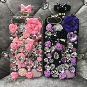 Di lusso diamante strass fiore cordino bottiglia di profumo coperchio della cassa per iphone x 8 7 6 s plus samsung s9 s9 plus s8 nota8