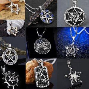 Six awn star ожерелье мужчины цепочка с кулоном звезды панк хип-хоп ювелирные изделия волшебные фэнтези аксессуары для мужчин ожерелья из титановой стали мода