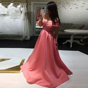 Pink Evening Dresses 2019 Yousef Aljasmi Dubai Arabic Cap Sleeve Lace Prom Gowns Sexy A-line Party Dress Scoop Neck Vestido De Festa
