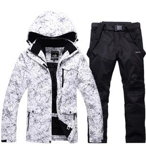 -30 beyaz Yetişkin Kadınlar ve Erkekler Kayak Giyim Snowboard setleri su geçirmez rüzgar geçirmez Nefes açık Kar takım elbise cek ...