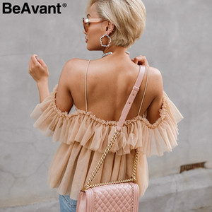 BeAvant عارية الذراعين الخامس الرقبة مثير بلوزة الصيف 2018 حزام كشكش شبكة بلوزة قميص المرأة معطلة الكتف peplum قمم blusas قميص فام