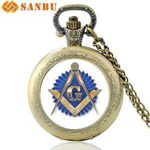 Presentes clássico Masonic Art Glass Cabochon quartzo relógio de bolso Bronze Vintage Colar Homens Mulheres pendente relógio