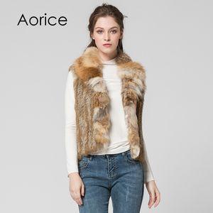 Pudi VT7007 Brand new 2018 winter genuine fur vest Classical Knitted Rabbit Fur Vest Gilet with fox fur collar vest