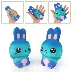 Coniglio Blu Squishy Kawaii Galaxy Bunny lento aumento Squishies Phone Strap R A DHL libera il trasporto SQU073