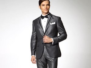 New Fashion Grey Groom Tuxedos Notched Lapel Two Button Groomsmen Men Formal Business Suits Party Prom Suit(Jacket+Pants+Bows Tie)NO:107