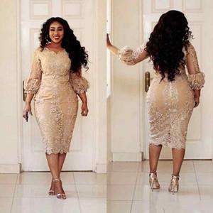 2020 sexy più Guaina Abiti da cocktail Appliques del merletto 3/4 maniche posteriore della chiusura lampo di lunghezza del tè Prom Dress Champagne Pretty Woman Party Dress