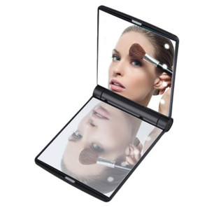 Fashion Women Makeup Mirror 8 LED Lights Lamps Cosmetic Folding Portable Compact Pocket Hand Mirror Makeup Tool Nice Gift
