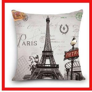 Cubierta decorativa del hogar Cojín escénico Torre de Londres Roma París Edificio Impresión Poliéster Cojines cuadrados Funda de almohada decorativa