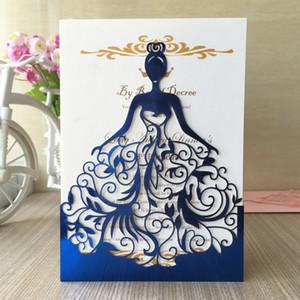 50 шт. Лазерная Резка Свадебные Приглашения Свадебные Платья Различных Цветов Изысканный Красивая девушка День Рождения Карты Для Взрослых