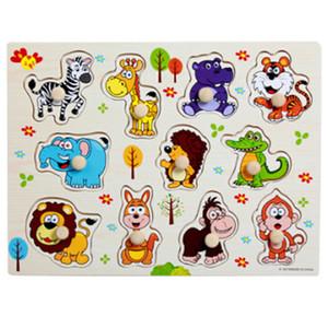 나무 장난감 손 퍼즐 사람들을위한 동물 인식 퍼즐 Montessori Educational Drop
