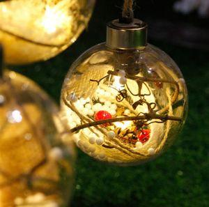 Transparente Bola De Natal De Incandescência Enfeites De Árvore de Natal Baubles com Luzes Xmas Crianças Presentes para Decoração de Casa Dia 8 cm
