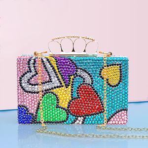 Women Handbags Hearts Clutch Bags Crystal Finger Ring Ladies Evening Bags Diamond Wedding Bridal Luxury Purse Small Shoulder Bag