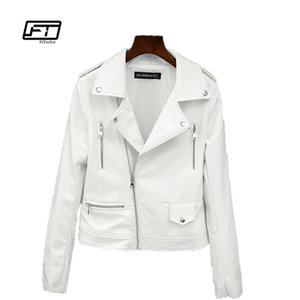 Fitaylor 2017 New Spring Autumn Women Biker Leather Jacket Soft PU Punk Outwear Casual Motor Faux Leather White Jacket