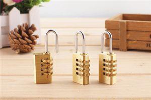 Brass mini bag 3 round cipher lock Customs Baggage locker small code rotary padlock