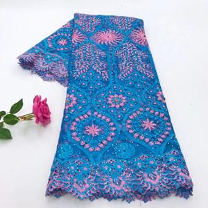 2018 아프리카 레이스 직물 / 프랑스 그물 자수 하늘색 아플리케 라인 석 Tulle Lace Fabric For Nigerian Wedding Dress