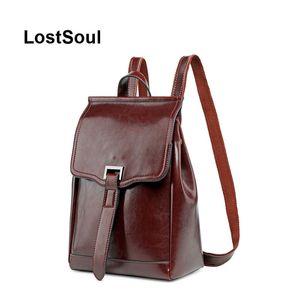 LostSoul rucksack weiblichen leder vintage umhängetasche Sac a Dos Travel Damen Bagpack Mochilas adrette schultaschen Für Mädchen