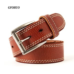 New Men Belt 100% Upper Genuine Leather Alloy Pin Buckle Personality Choice Cowhide Male thread Strap Jeans Waistband Gift C18110601