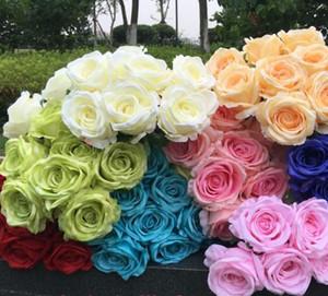 روز زهرة بانش (9 رؤساء / قطعة) الكوبية الورود وهمية لحضور حفل زفاف العروس باقة الزهور Artificiao الديكور