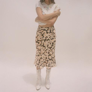 100% Silk Satin The Naomi - Flower Power Print Wild Side 3 4 Length Hidden Elasticized High Waist Easy 90's Women Slip Skirt