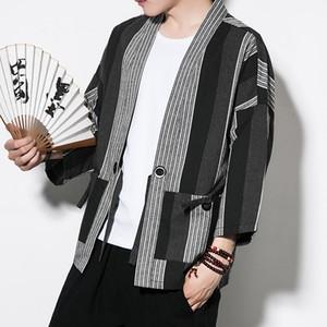 Nueva túnica china contra el viento kimono chaqueta de punto ropa de hombre Tang traje kimono de hombre abrigo suelto