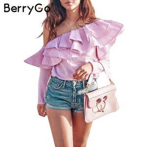 BerryGo One spalla ruffles camicetta camicia donna top autunno Casual camicia gialla manica lunga moda blusa blusa invernale fresca