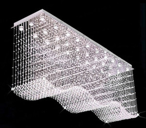 Contemporanea Rettangolo Lampadario di Cristallo Raindrop Flush Plafoniera a Sospensione Wave Hanging Lampadari per sala da pranzo / Ingresso / cucina LLFA
