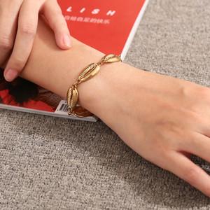2018 Nouveau Coquillage Forme Bracelet Or Chaîne De Mode Conch Bracelet pour Femmes Simple D'été Plage Vacances Bijoux Cadeau pour Filles