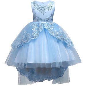Blue Lace Flower Girl Dresses 2018 cuello redondo de tul apliques de encaje High Low Girls 'Vestidos de concurso con arco Sash mc1458