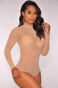 New Transparente Sexy Bodysuit Mulheres Macacão Bodycon Macacão Manga Comprida Malha Bodysuit Sheer Through Trutleneck Bodysuits C2345