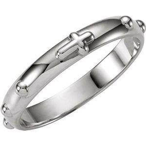 de acero inoxidable de 18 quilates de oro dos de plata tono religioso católico Cruz Crucifijo Orar anillo de matrimonio Rosario Spinner anillo para los hombres