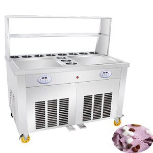 Makine Kızartma Buz Pan Makinesi Fiyatı Yapımı Kızarmış Dondurma Rulo Makinesi Ticari Tayland Dondurma