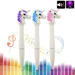 Criativo Kawaii Unicórnio Caneta Esferográfica Multifuncional Eletrônico Voz Luz Roller Ball Canetas Para Crianças Presente Material Escolar Escritório
