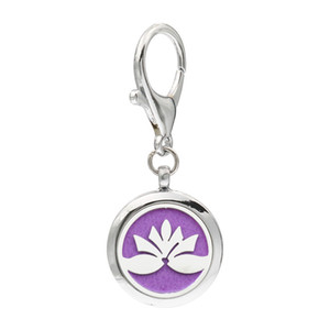More Options Lotus Flower Keychain Lobster Clasp Magnetic Aroma Essential Oil Diffuser Locket Key chain Perfume Locket Keyrings 5pcs Pads