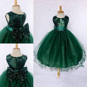 Koyu Yeşil Kızlar Pageant Elbise Kız Törenlerinde Için 2019 Toddler Çocuklar Balo Çay-Uzunluk Glitz Çiçek Kız Elbise Düğün Için