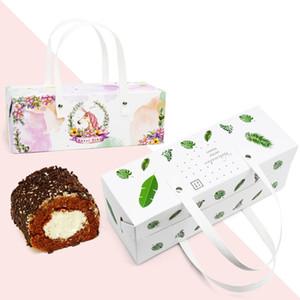 Hoja verde Unicorn Cake Roll Box con mango, bolso Swiss Roll, cajas de rollo de leche de gasa, caja de pastel LX0503
