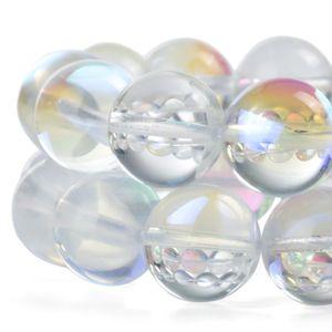Rodada Moonstone Beads AB Fosco Cristal Branco Aura de Vidro Claro Iridescente Solta Pérolas para Fazer Jóias 1 Vertente 15 Polegadas 6-12mm