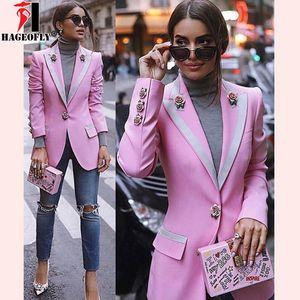 HAGEOFLY Yüksek Kalite Moda Tasarımcısı Blazer Kadınlar Uzun Kollu Çiçek Astar Gül Düğmeler Pembe Blazers Outer Ceket Kadın