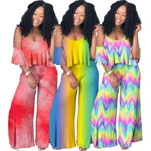 Nuevas mujeres de ropa dos conjuntos de piezas gradiente de honda V-cuello de la camisa tie-dye africanos pantalones de ropa 2 piezas con traje de volantes para mujer ropa de diseño