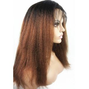 Kinky Straight Ombre Цветные кружевные передние человеческие волосы Парики Remy Бразильские человеческие волосы 150% Плотный парик кружева с детскими волосами