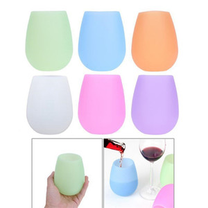 Outdoor Silicone Wine Glasses Unbreakable Silicon Wine Cups Dishwasher Safe Shatterproof Rubber Cups for Travel Picnic Camping BBQ