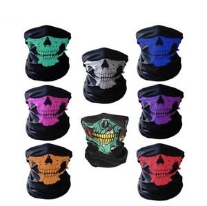 DHL Free shipping 200pcs Skull Design Multi Function Bandana Ski Sport Motorcycle Biker Scarf Face Masks Outdoor Facial Mask Black Color