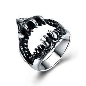 2018 New arrival Realistic Tubarão boca forma de aço inoxidável popular Cluster Anéis moda jóias fazendo para homens presente frete grátis GMYR268