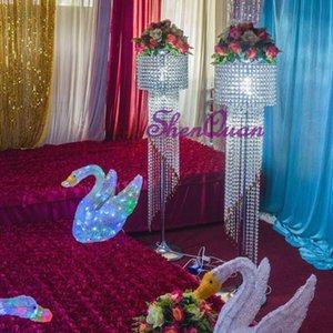 hangd جعل موقف الكريستال الوقوف زهرة لحفل زفاف الديكور حفل زفاف الديكور أعمدة الممشى الزفاف الديكور