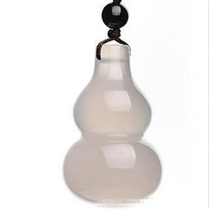 Calcédoine naturelle, pendentif gourde, pendentif gourde en jade, ornements en cristal d'agate