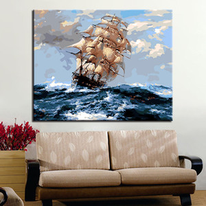 DIY Painting By Number Ocean Wave Sailboat Landscape Modern Acrylic Paint On Canvas Painting Unique Gift For Home Decor Art