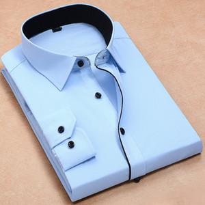 Recomendar 2018 Bom Patchwork Botão Preto Queimar Para Baixo o Colar de Manga Longa Sarja De Negócios Formal Mens Camisas de Vestido Dos Homens Sólidos Top
