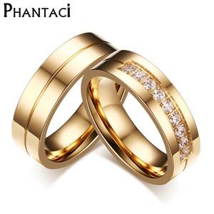 연인에 대 한 6MM 스테인레스 스틸 결혼 반지 IP 골드 컬러 크리스탈 CZ 커플 반지 남자 여자 결혼 반지 세트
